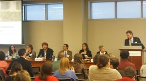 Panel: Research Update—New Insights Into Housing Mobility Implementation and Outcomes. From left to right: Jennifer Cossyleon (Johns Hopkins University), Eva Rosen (Georgetown University), Philip Garboden (University of Hawai'i at Manoa), Craig Pollack (Johns Hopkins University), Martha Galvez (Urban Institute), Deb Gross (CLPHA), and Philip Tegeler (PRRAC).