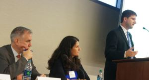 Panel: Choice-Mobility in the Rental Assistance Demonstration. From left to right: Tom Davis (HUD Office of Recapitalization), Megan Haberle (PRRAC), Brian Knudsen (PRRAC).