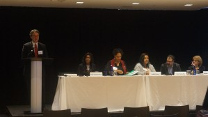 Panel: Master Lease Programs and Other Project-Based Mobility Approaches. From left to right: Philip Tegeler (PRRAC), Priya Jayachandran (National Housing Trust), Demetria McCain (ICP) Isabel Lopez (NestQuest), Tory Gunsolley (Houston Housing Authority), and Robin Snyderman (Brick Partners).