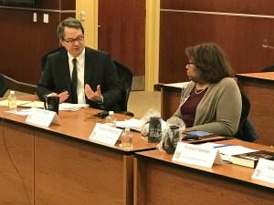 """UDC Law School's """"FHA @ 50: Renewing our Commitment to Housing Equity Symposium:"""" PRRAC Executive Director Philip Tegeler and other panelists at event."""