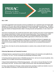 An Anti-Racist Agenda for State and Local Housing Agencies (PRRAC, July 2020)