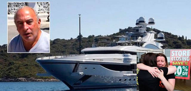 Philip Green milked BHS stores of £500m, avoided paying tax, and swanned shamelessly on his £100m super yacht as 11,000 workers lost their jobs due to his mismanagement.