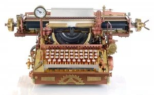 Steampunk style future Typewriter. Hand/home made model.
