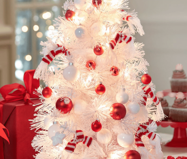 White Mini Christmas Tree Peppermint Tree Skirt Small White And Red Round Ornaments Snowman Hat Tree Topper