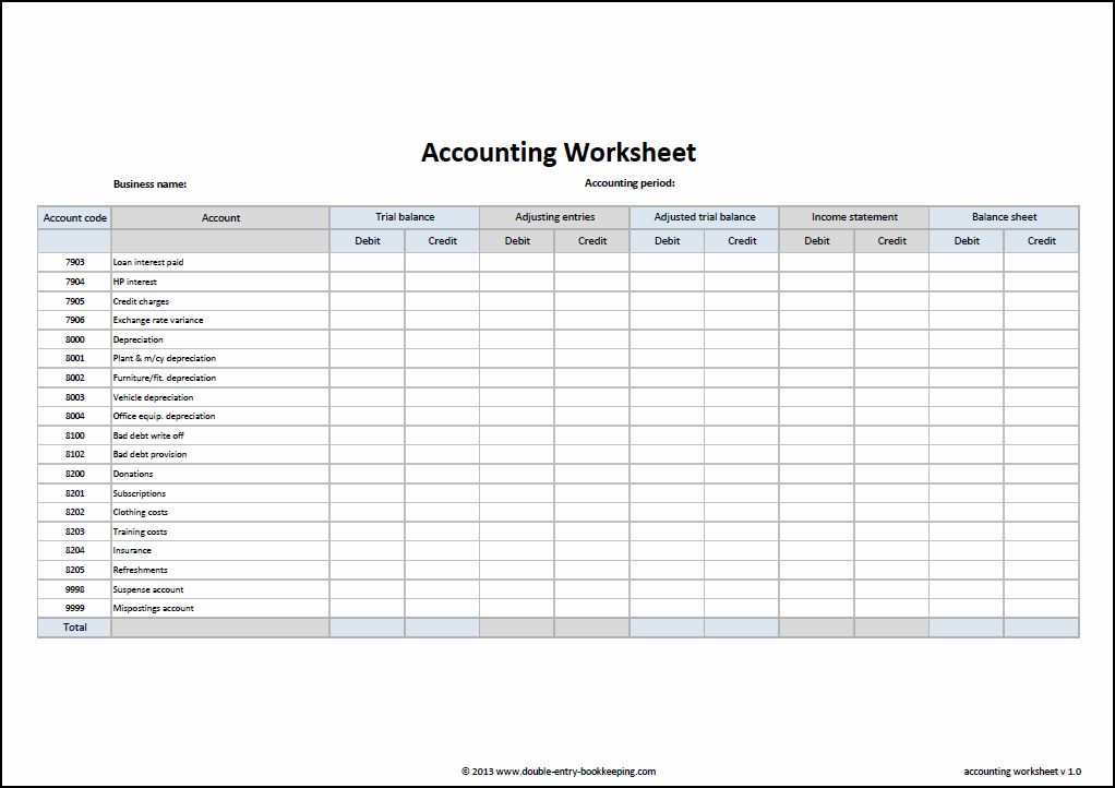 accounting templates excel worksheets sample