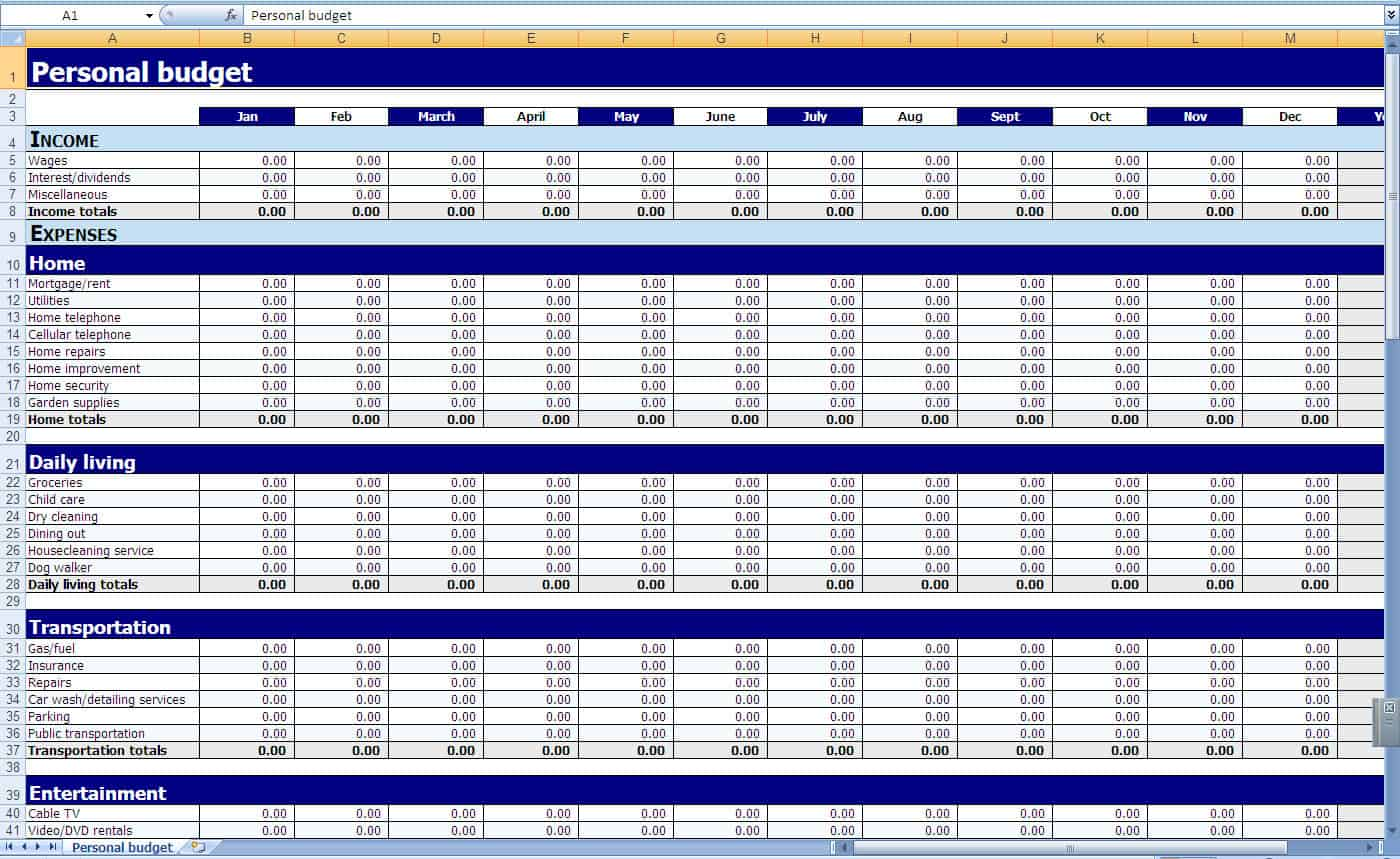 budget tracking spreadsheet template sample