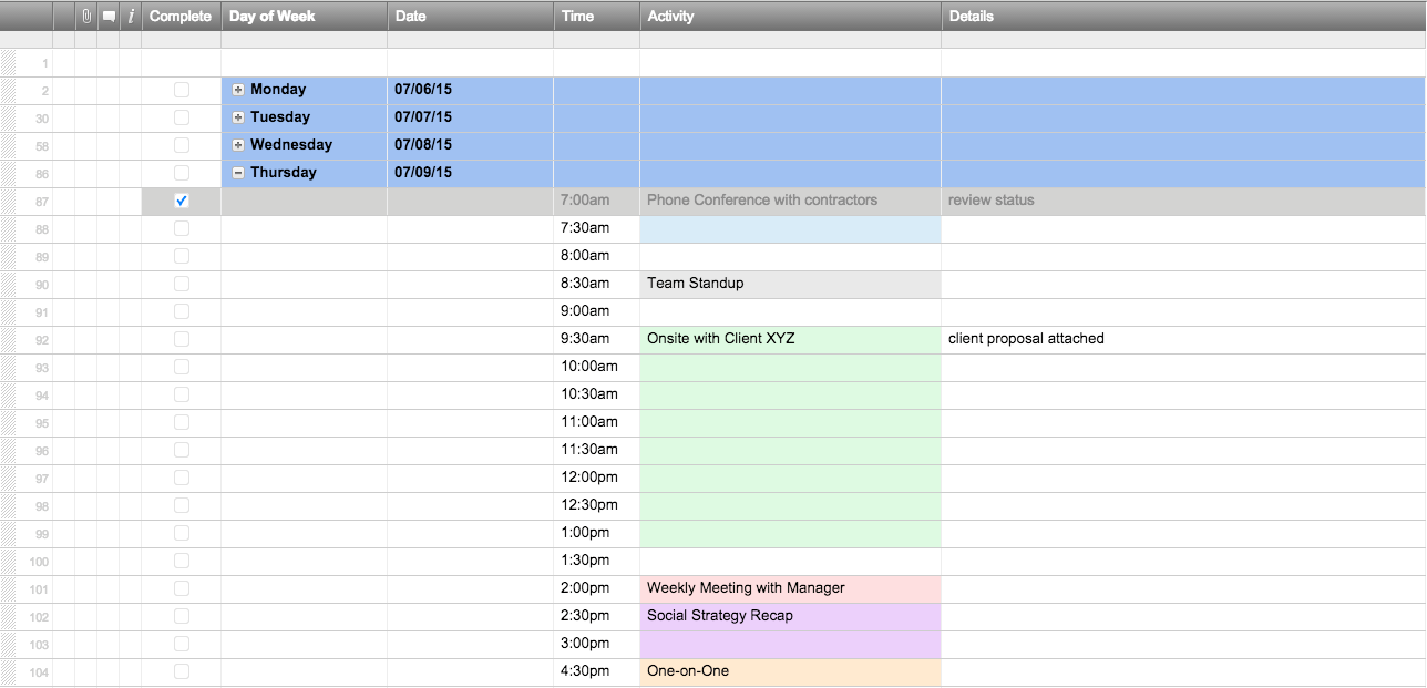 daily planner template excel sample