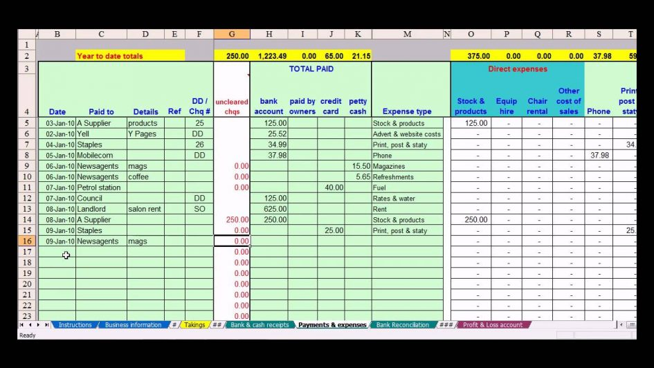 excel sheet format for daily expenses sample 2
