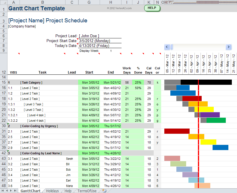 gantt chart maker excel sample