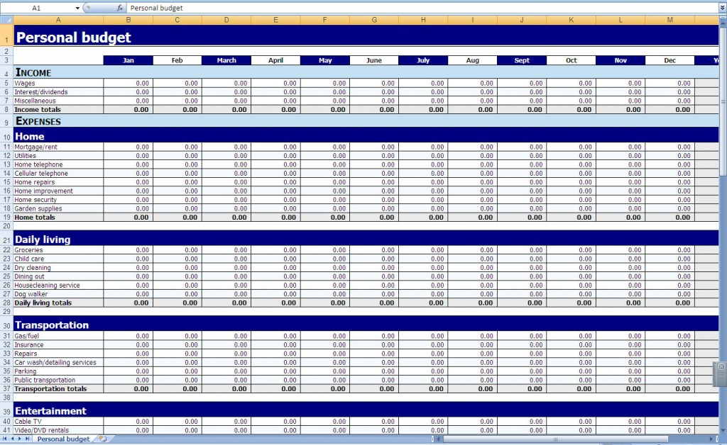 household budget template excel sample