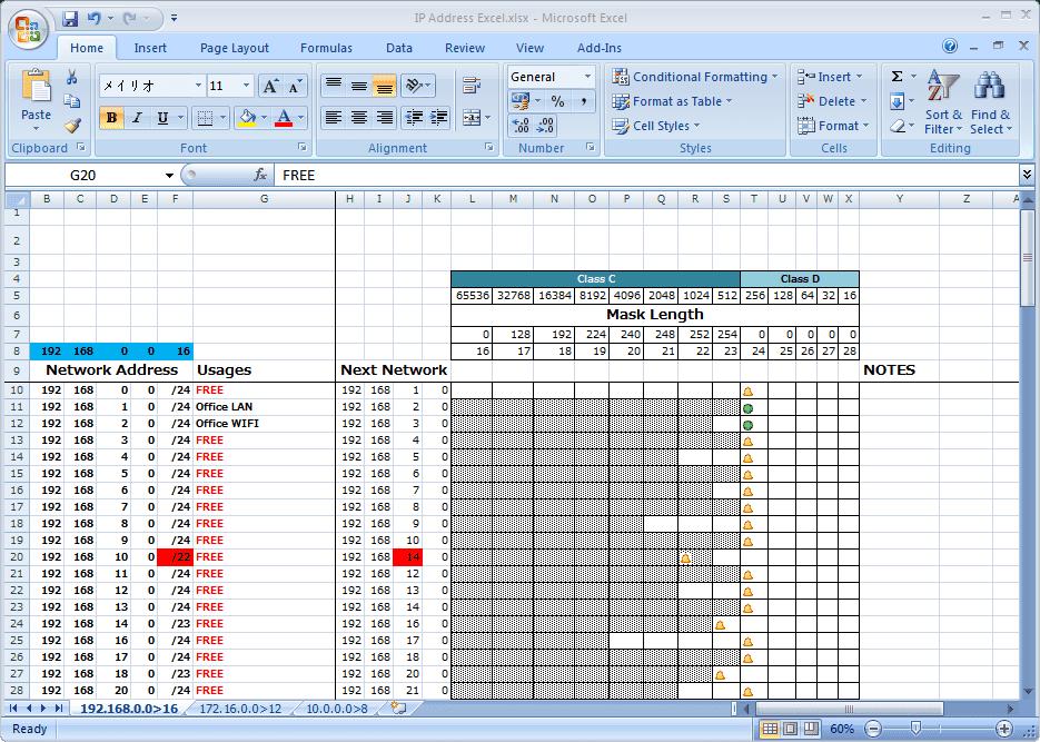 ip address planning spreadsheet sample