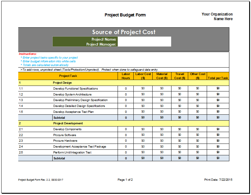 project plan template excel 2017