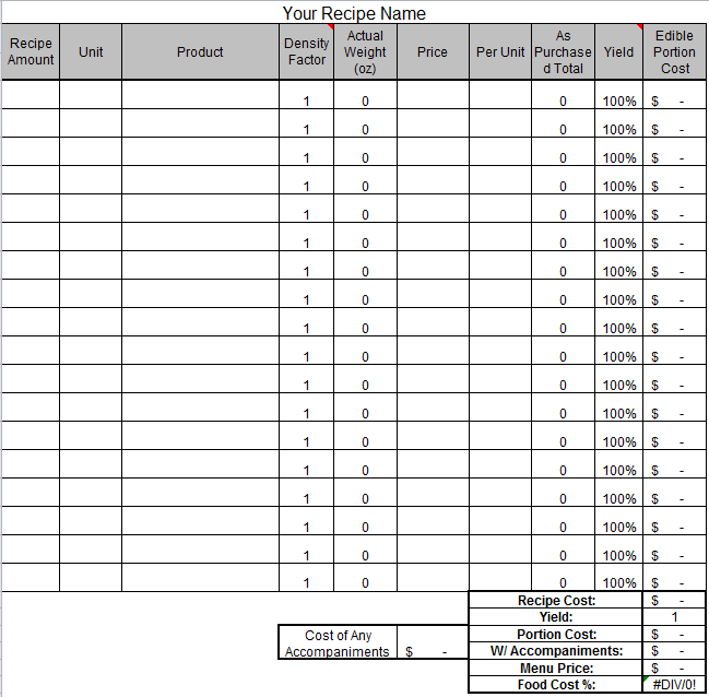 recipe costing template excel download