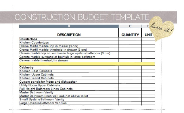 renovation budget spreadsheet template
