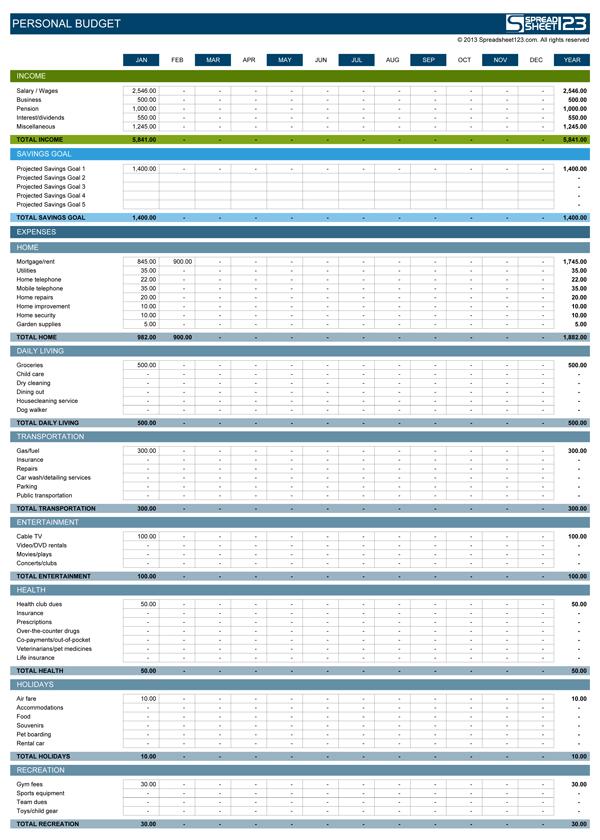simple budget template sample 1