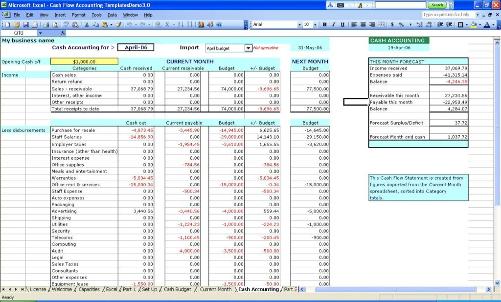 small business spreadsheet for income and expenses 4