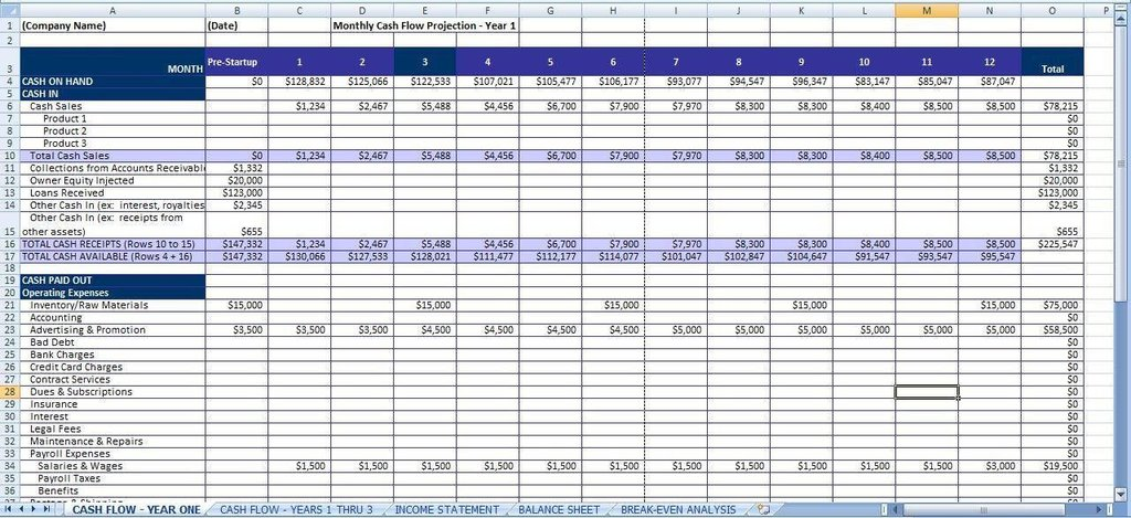 spreadsheet templates for business expenses sample
