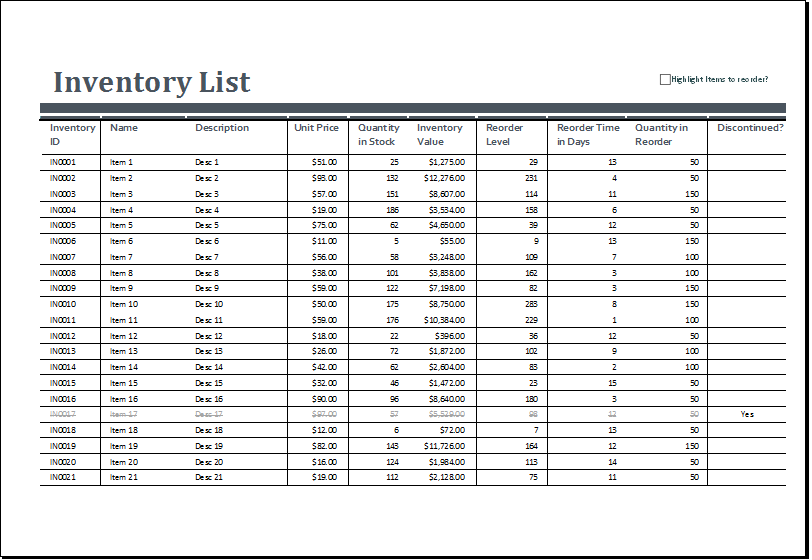 stock inventory excel format free download