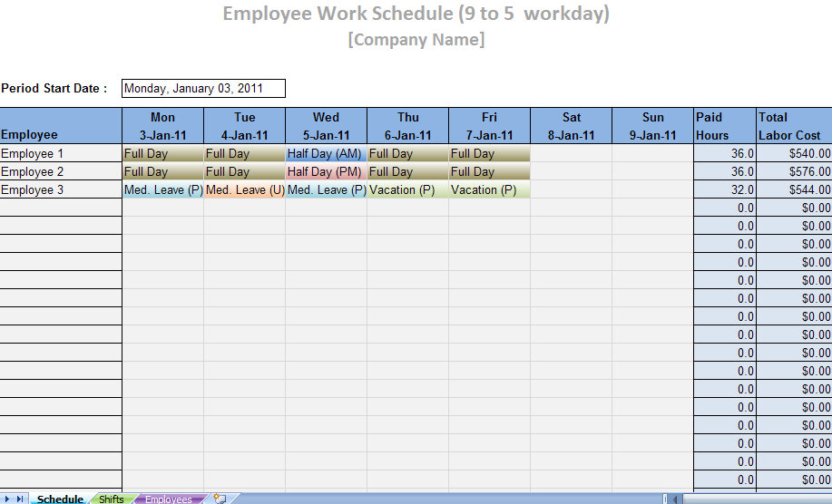 weekly schedule template excel sample