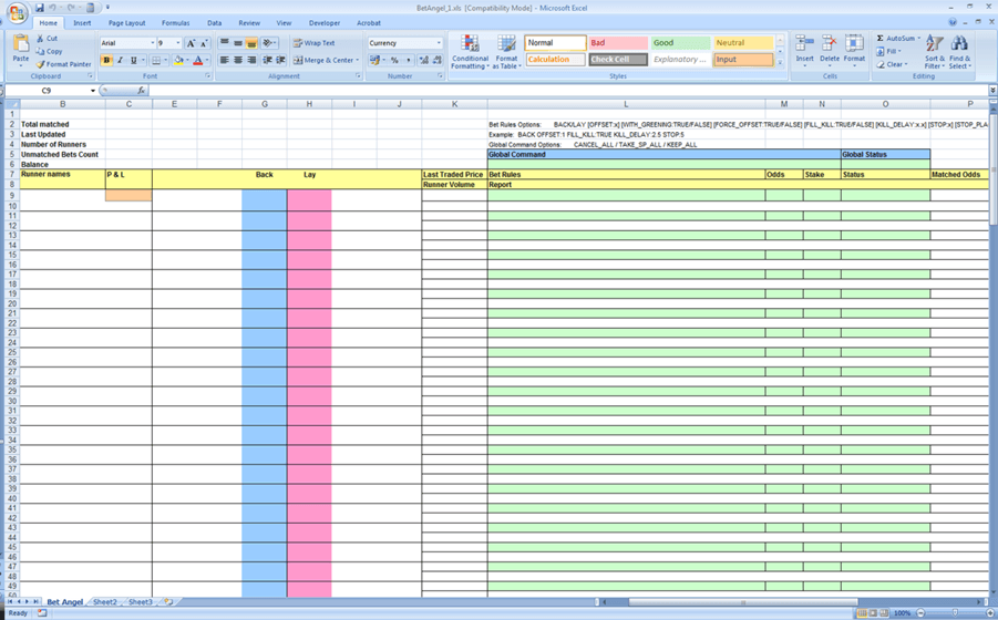 blank spreadsheet to print sample 1