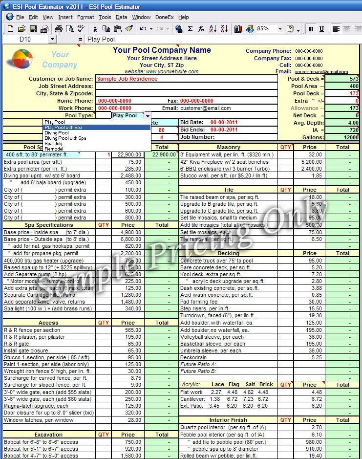 building estimate format in pdf