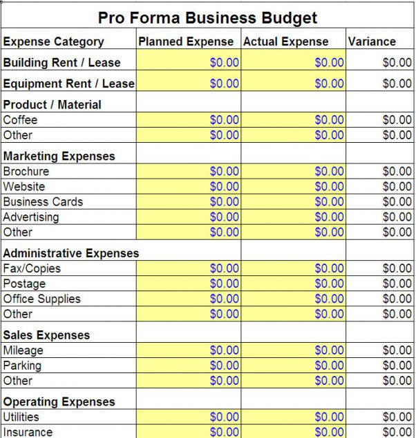 business start up cost worksheet sample