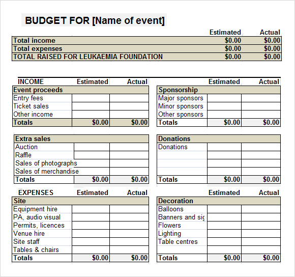 event budget template excel 2017 sample