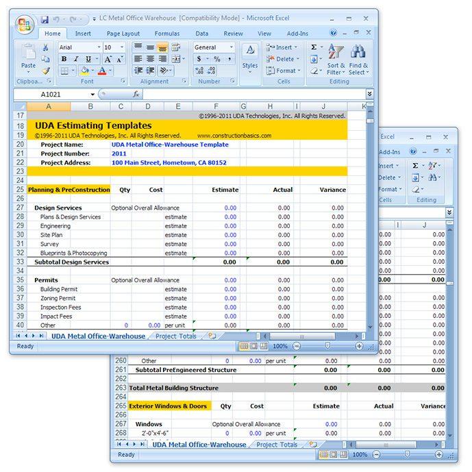 free building estimate format in excel sample