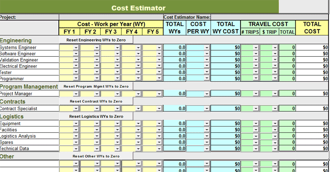 free construction estimate template excel sample