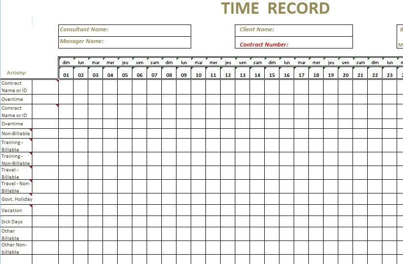 monthly employee timesheet template excel sample