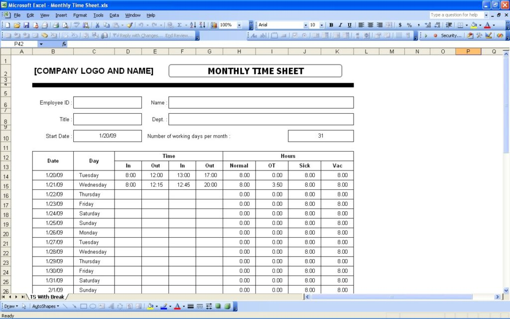 monthly timesheet calculator sample