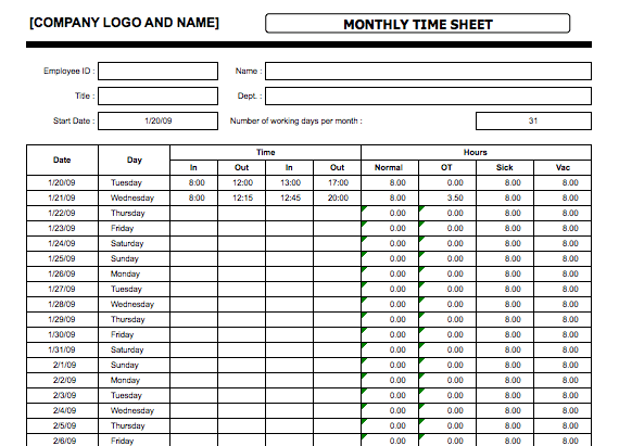 monthly timesheet template excel sample
