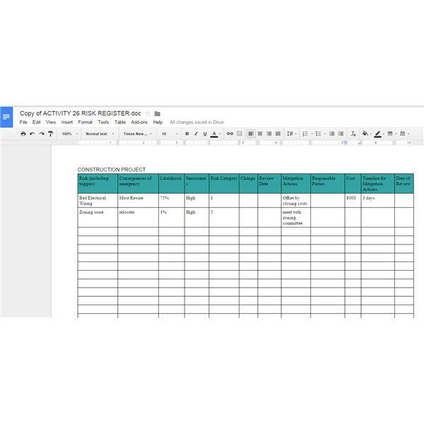 project management google docs sample