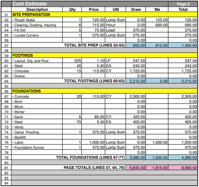 residential construction cost estimator excel sample 1