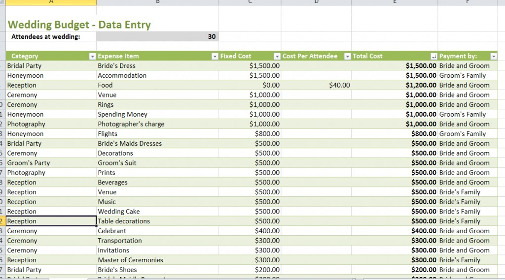 wedding budget spreadsheet the knot sample