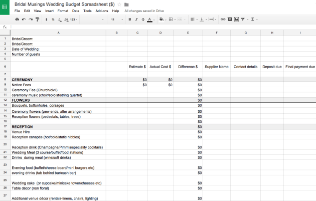 wedding budget spreadsheet uk sample 1