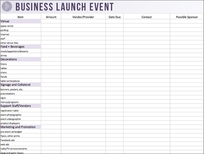 event planning template microsoft sample