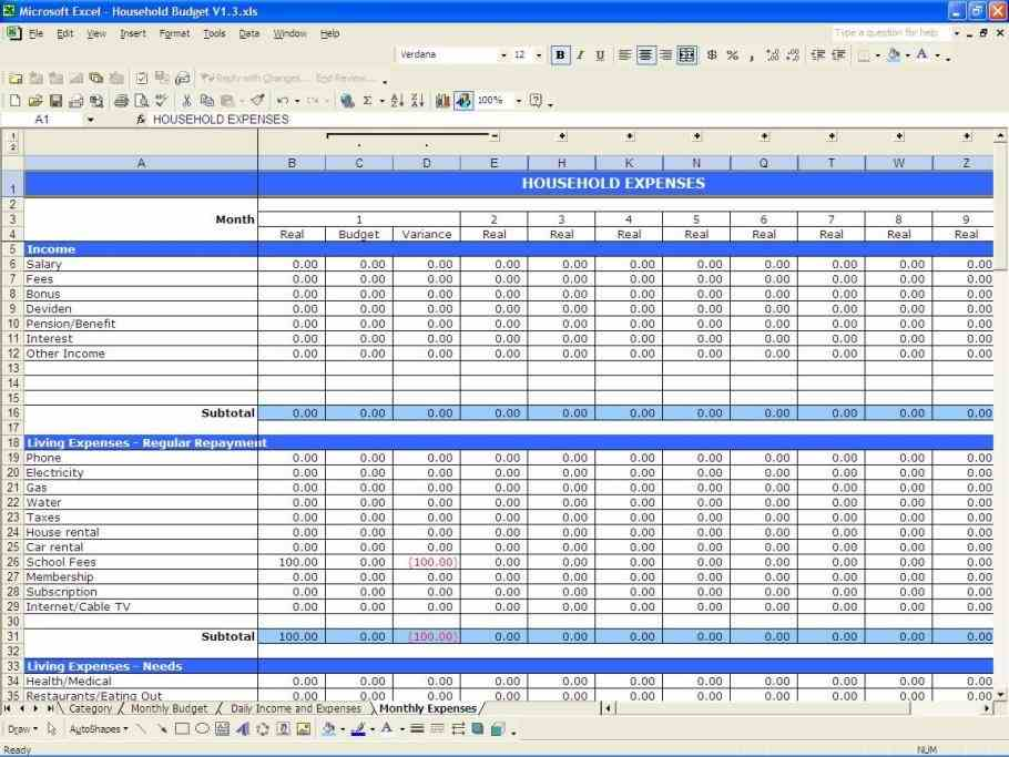 how to maintain accounts in excel sample
