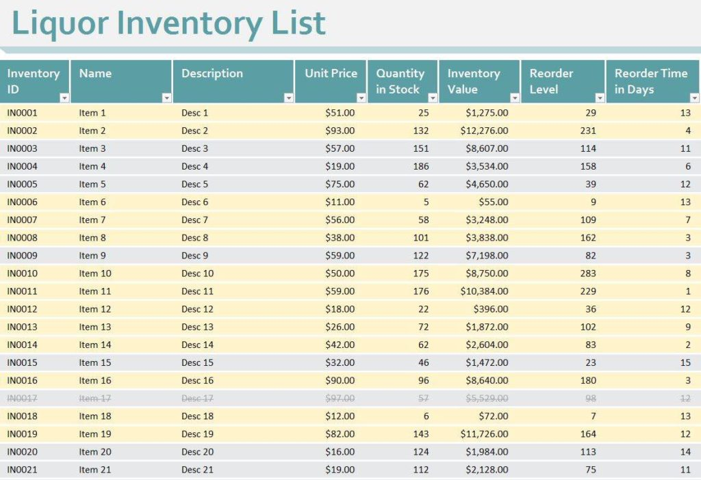 Bar Inventory Control Spreadsheet