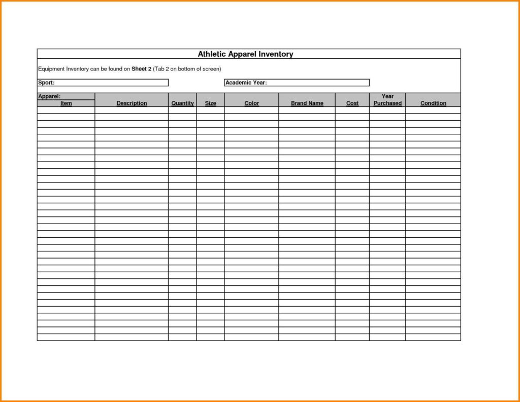Business Inventory Spreadsheet
