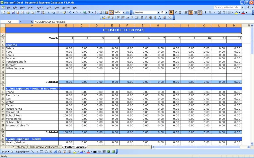 Expense and Income Tracking Spreadsheet