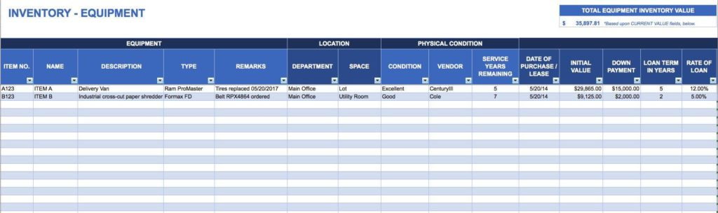 Free Business Inventory Spreadsheet Template