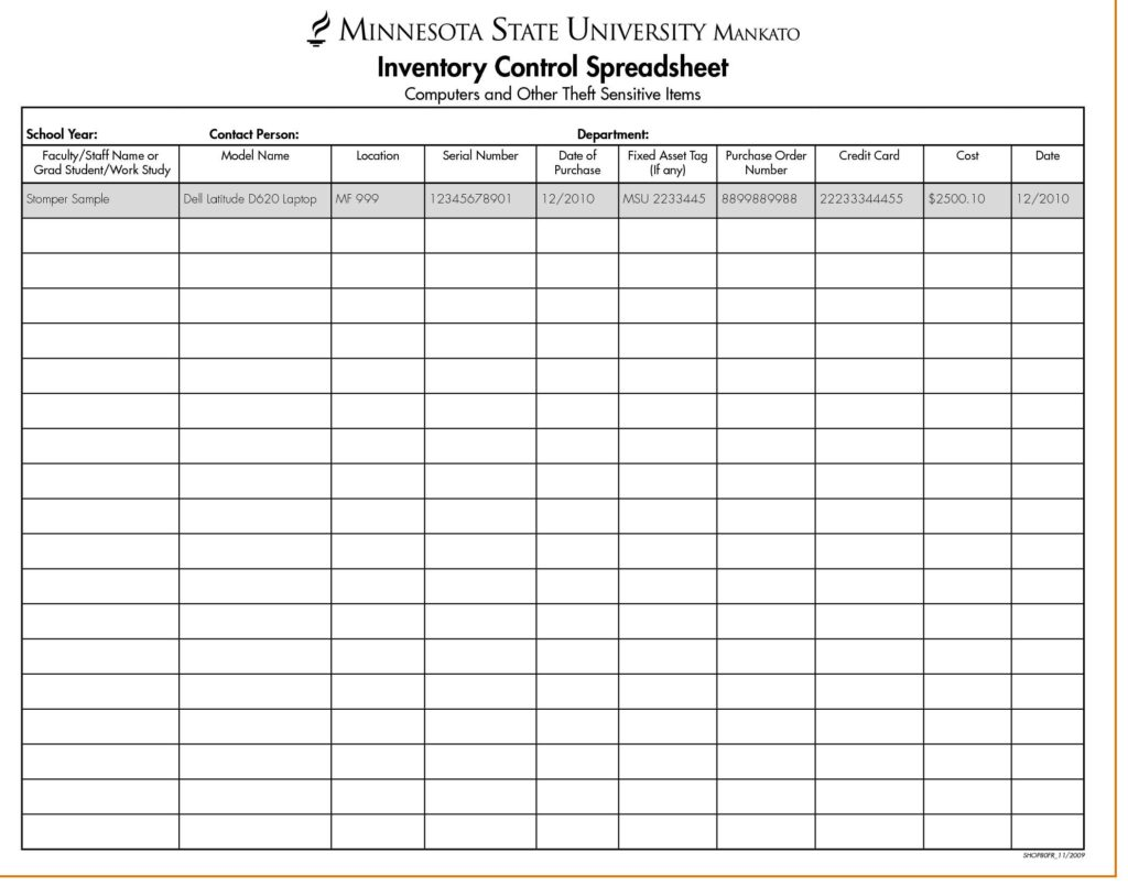 Free Inventory Control Sheet