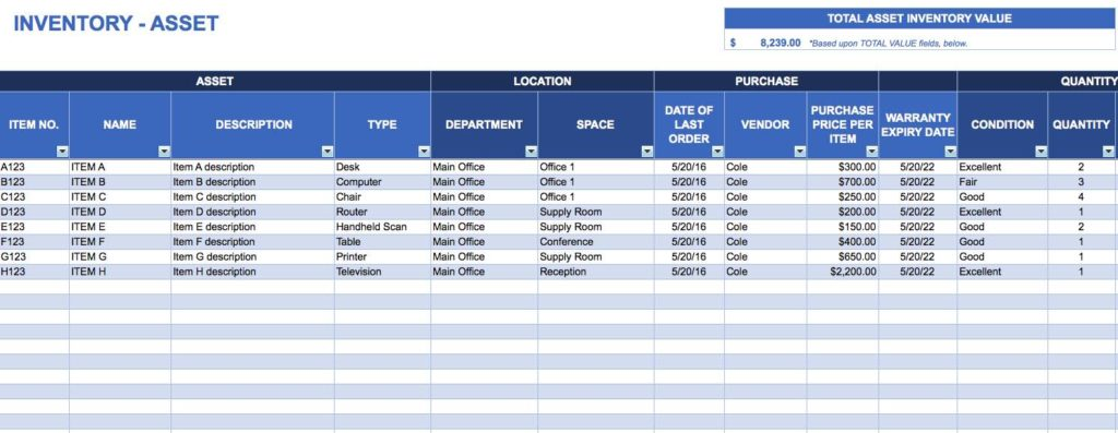 Free Spreadsheet for Inventory Tracking