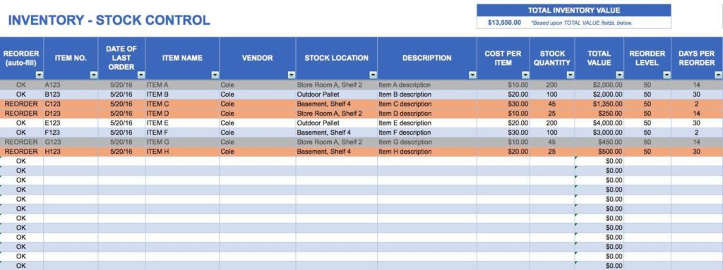 Inventory Control Excel Spreadsheet Template