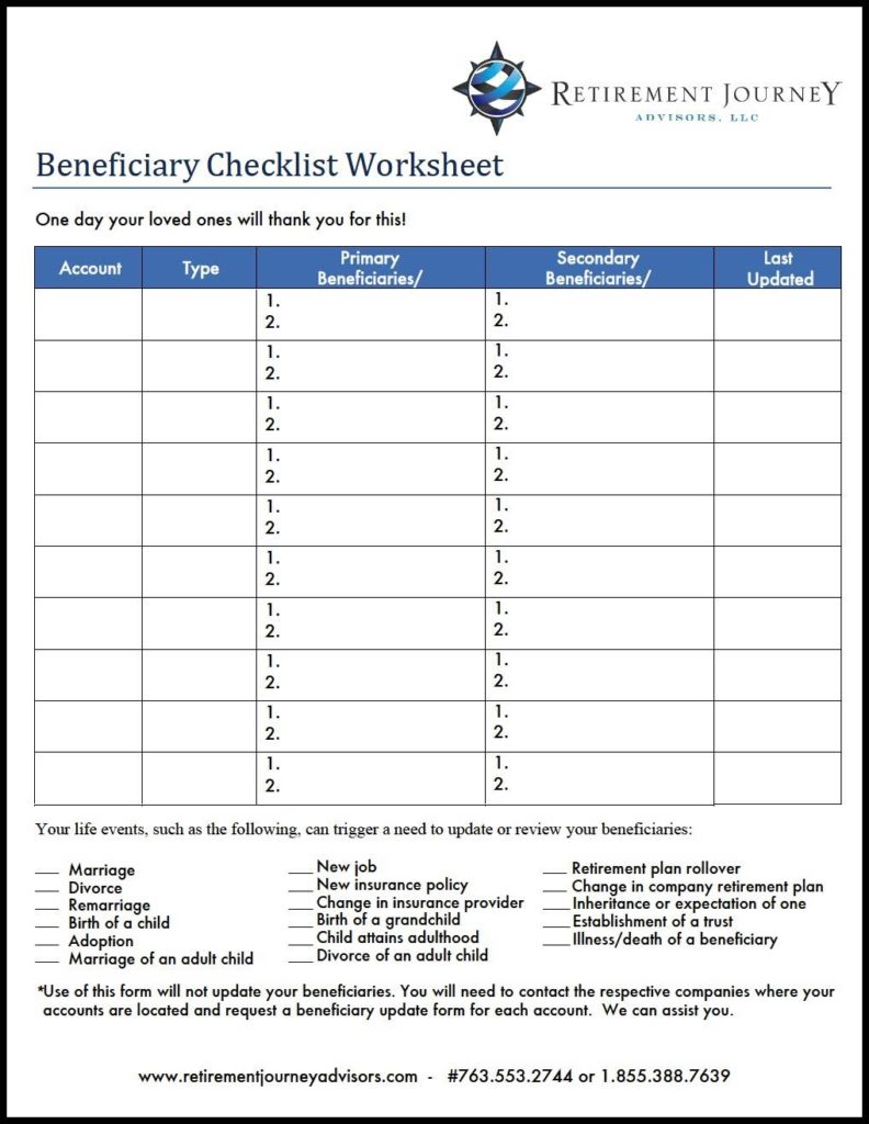 Worksheet Retirement Planning Checklist