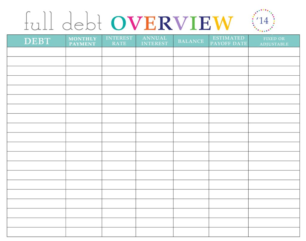 pay off credit card debt worksheet
