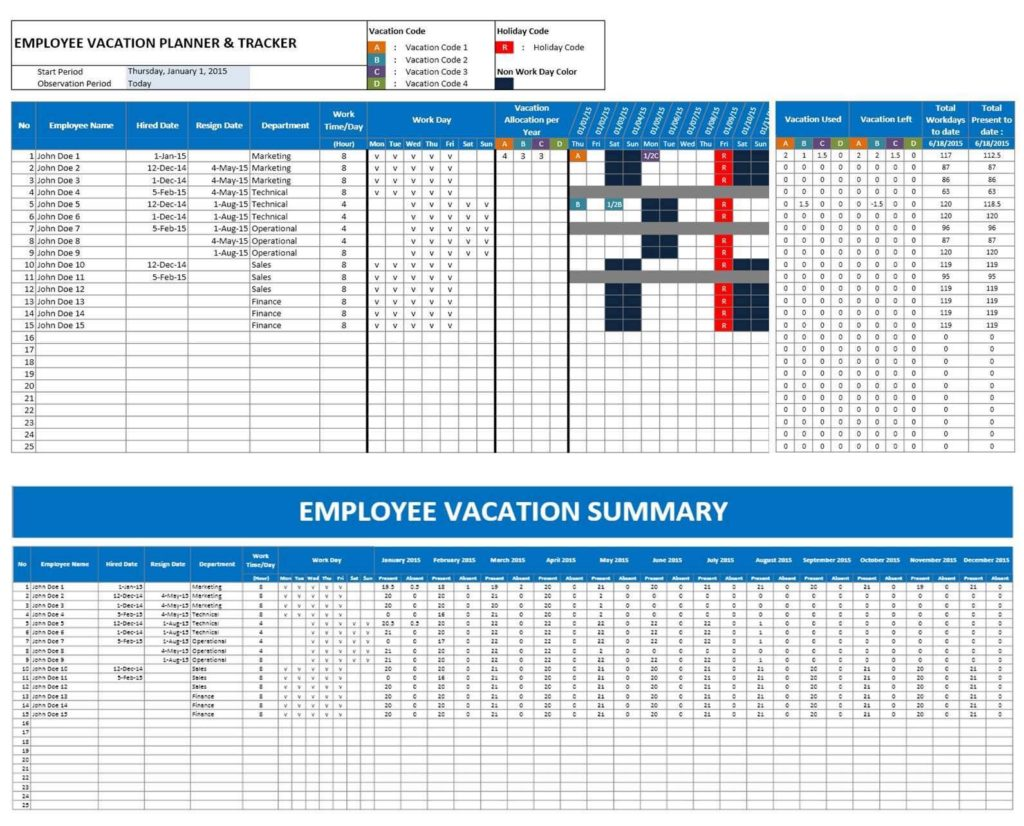 Employee Attendance Sheet with Time in Excel and Employee Attendance Tracker Sheet