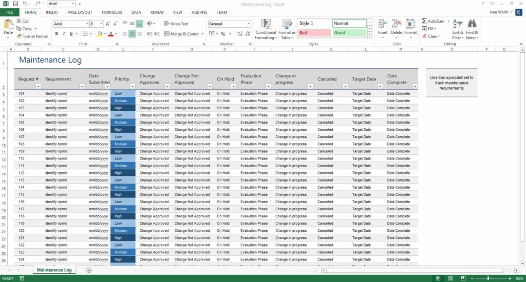 Fleet Maintenance Tracking Spreadsheet and Plant Maintenance Schedule Template Excel