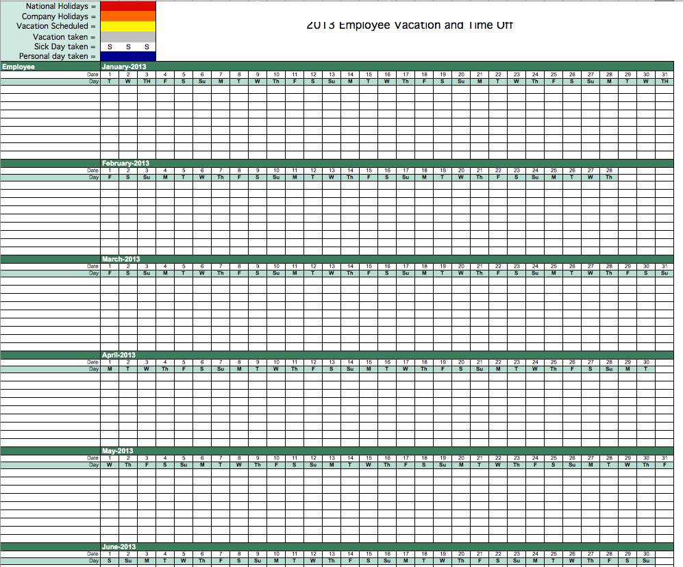 Free Vacation Time Tracking Spreadsheet and Tracking PTO in Excel Spreadsheet